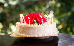 White creamy delicious cake with candles Royalty Free Stock Photos
