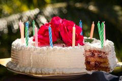 White creamy delicious cake with candles Stock Photography