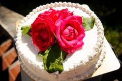 White creamy delicious cake closeup Stock Image
