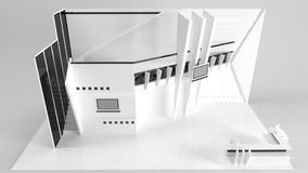White creative exhibition stand design. Booth template. Corporat Stock Images