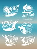 White creative summer surfing sports vector logos collection with surfer, surf board and ocean wave Royalty Free Stock Images