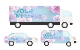 White creative transport advertising design with color shapes. Templates of the truck, bus and passenger car. Corporate identity Stock Images