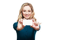 White credit card. Smiling business woman hold white credit card. Isolated portrait Royalty Free Stock Photos