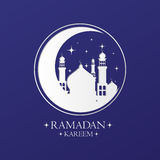 White Crescent with Mosques and Stars on Blue Background Vector Design. Royalty Free Stock Photos
