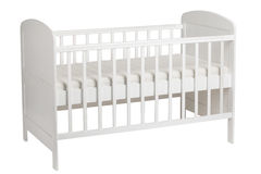 White crib for kids  on white background Stock Photo