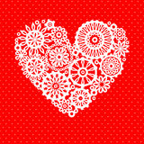 White crochet lace flower heart on red romantic greeting card, vector background. White crochet lace flower heart on red dotted background romantic greeting card Stock Photo