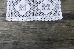 White Crochet Tablecloth whit housekeeper  sempervivum tectorum Royalty Free Stock Images