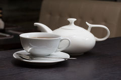 White crockery for tea in restaurant Stock Image
