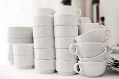 White crockery on a white background, a restaurant Royalty Free Stock Photos