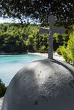 White Cross in Beach of alonissos, Greece Royalty Free Stock Photo