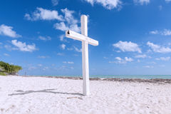White cross on beach Stock Photo