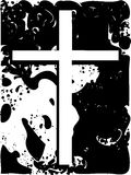 White cross on black spotted background Royalty Free Stock Photos