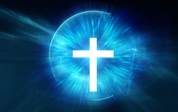 White cross on blue ray light background. Alchemy, religion, philosophy, astrology and spirituality themes royalty free illustration