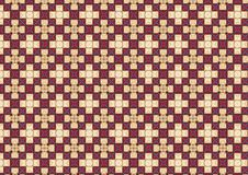 White Cross Chequered Pattern. A background texture pattern with squares and crosses in red, wine and antique white colors stock illustration