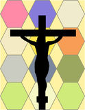 White Cross on The Color Wall of the Temple Stock Images