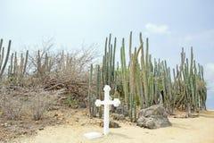 White cross in the cunucu on Aruba island Royalty Free Stock Photo