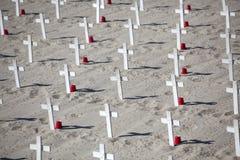 White Cross Graveyard in Sand Stock Photos