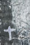 White Cross on a gray background Stock Photography
