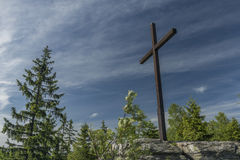 White cross in Jizerske mountains Royalty Free Stock Photography