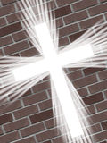 White cross with light rays and red bricks christian symbol of resurrection Stock Photo