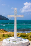 White Cross and Sea Royalty Free Stock Image
