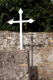 White cross and shadow on old wall Royalty Free Stock Photography