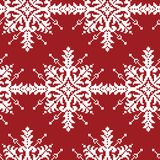 White Cross-Stitch Snowflakes Seamless Pattern on Red. Tradition royalty free illustration