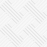 White crossed lines and squares seamless. Seamless abstract background. White crossed lines with cut out of paper effect and realistic shadow Stock Image