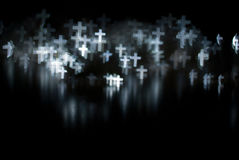 White crosses. White abstract crosses on a black foreground Stock Photography