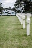 White crosses in American Cemetery, Coleville-sur-Mer, Omaha Bea. Row of white crosses in American Cemetery, Coleville-sur-Mer, Omaha Bea Royalty Free Stock Image
