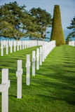 White crosses in American Cemetery, Omaha Beach, Normandy, Franc Stock Images