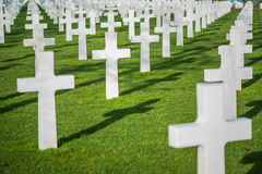 White crosses in American Cemetery, Omaha Beach, Normandy, Franc Royalty Free Stock Photography