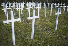 White crosses in the cemetery Stock Photo