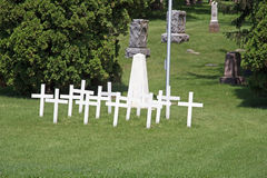 White Crosses at a Cemetery Stock Photography