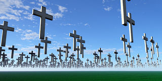 White Crosses. Floating above the ground out to the horizon Stock Image