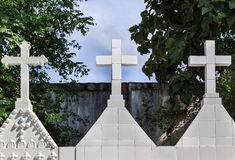White crosses in graveyard. Stock Photography