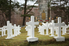 White crosses at the Latvian war cemetery Stock Image