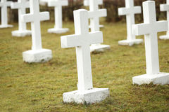 White crosses at the Latvian war cemetery Royalty Free Stock Image