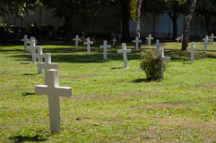 White crosses on military cemetery. White crosses, military cemetery in Prague royalty free stock photography