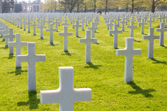 White Crosses of the World War II Normandy American Cemetery and Memorial Royalty Free Stock Photo