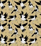 White crows in crowns color seamless pattern. Color vector illustration. EPS8 Stock Illustration