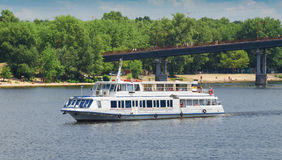 White cruise boat on the river. Stock Image