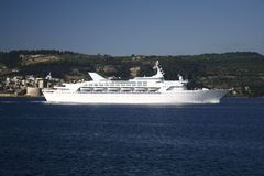 White Cruise Ship. In Troya Canakkale Turkey Stock Photo