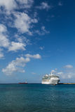 White Cruise Ship on Azure Sea. White Luxury Cruise Ship Docked at St Croix Royalty Free Stock Photography