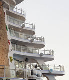 White Cruise Ship Balconies by Rock Climbing Wall Royalty Free Stock Photos