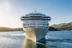 White Cruise Ship from Front Stock Photography