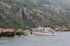 White Cruise Ship at Kotor Harbor Stock Photo