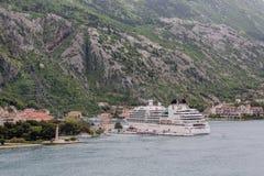 White Cruise Ship at Kotor Harbor Stock Photo