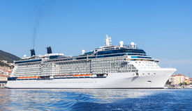White cruise ship moored in port of Ajaccio Royalty Free Stock Images
