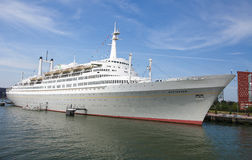 White Cruise Ship in the Port of Rotterdam Royalty Free Stock Photography